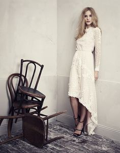 Simply Feminine. White Dress from H & M's Conscious Partywear Collection