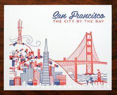 San Francisco Letterpress Print by paperparasolpress on Etsy, $22.00 #sanfrancisco #paperparasolpress