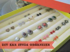 "DIY Ear Studs Organizer—Made for less than $2.50!   |   Blog Post: ""DIY Ear Studs Organizer Under $2.5 !"" on May 31, 2014 by Roopini from Let's Make It Lovely"
