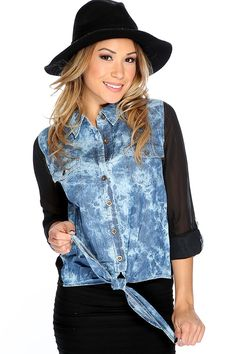 e2192fa01e1f6 Blue Denim Bleached Button Up Front Tie Casual Top. Shirt OutfitShirt  DressOnline Clothing StoresCasual ...