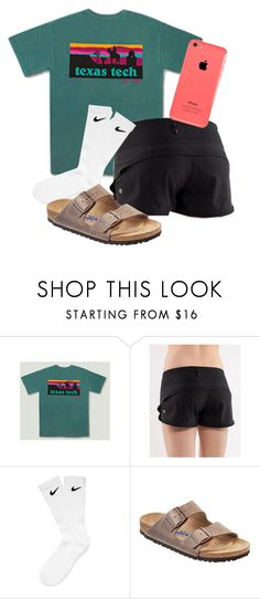 """""""Want these burks"""" by so-preppy ❤ liked on Polyvore featuring lululemon, NIKE and Birkenstock"""