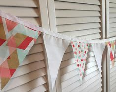 MINT, GOLD, PINK, Orange / Red, Bunting, Fabric Bunting, Fabric Banner, Banner, Wedding, Bridal Shower, Photo Prop, Home Decorations, Party