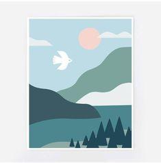 Northern landscape, scandinavian print, minimalist landscape Source by Summertrends. Small Canvas Art, Mini Canvas Art, Diy Canvas, Landscape Illustration, Illustration Art, Minimalist Landscape, Colorful Wall Art, Scandinavian Art, Modern Art Prints