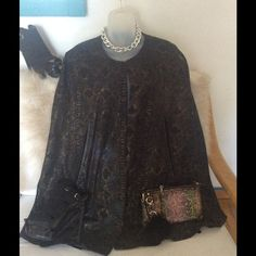 Makali metallic snake print cape Beautiful Alberto Makali snake print metallic cape with leather trim around opening for arms.  Eyelet closures in two places assist with keeping closed. Alberto Makali Jackets & Coats Capes