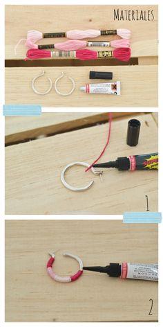 Como hacer unos pendientes con hilo de bordar