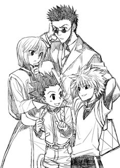 Kurapika, Leorio, Killua, and Gon