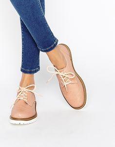 Image 1 ofBronx Nude Brogue Flat Shoes