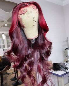 Red Curly Wig, Black Hair Wigs, Black Hair Ombre, Red Wigs, Creative Hair Color, Cool Hair Color, Wig Styles, Curly Hair Styles, Reverse Ombre Hair