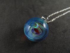 Tiny galaxy glass pendant necklace, Silver fumed Borosilicate space necklace, with a floating opal crescent moon, Starry Planet Pendant Washer Necklace, Pendant Necklace, Handmade Beads, Ear Studs, Glass Pendants, Opal, Moon, Pure Products, This Or That Questions