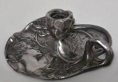 Art Nouveau Art Nouveau accessories candlestick pewter Art Nouveau, Art Deco, Antiques Online, Antiques For Sale, Antique Furniture, Candlesticks, Pewter, Artist, Accessories