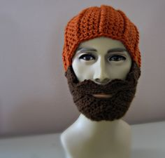 Crocheted Beard Beanie Hat  with Handlebar Mustache - The Lumberjack in Pumpkin Orange  - back to school - Halloween Costume. $35.00, via Etsy.