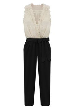 Color Contrast Lace Jumpsuit. Description; Jumpsuit,featuring a color contrastdesign with a cream to the too and black color down,deep V-shape neckline with flower shape lace around,sleeveless styling,a black trouse with a bowknot belt in middle,belt included. Fabric: Chiffon Washing: Cool hand wash with similar colours,do not tumble dry. #Romwe
