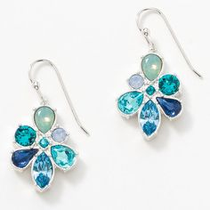 Caribbean Blue Drop Earrings - Pacific Opal, Air Blue Opal, Light Turquoise, Aquamarine, Montana, Turquoise, and Blue Zircon crystal; rhodium plating.