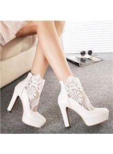 6c2937d4bc04ae Fashion Chunky Heels Platform Lace Wedding Shoes Best Bridal Shoes