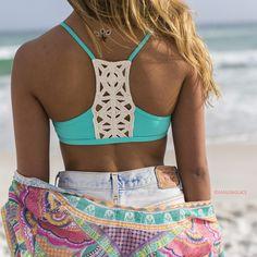 L'Space Nanette Caribbean Waters Crochet Bikini Top