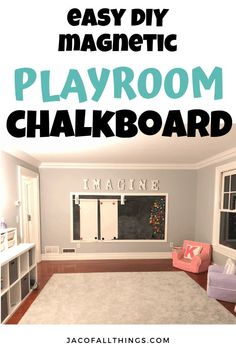 Learn how we made a chalkboard wall in our playroom! This easy step-by-step tutorial will walk you through exactly how to build your own magnetic chalkboard wall in your house! Simple, inexpensive, and a fun idea for your playroom! Chalkboard Wall Playroom, Playroom Wall Decor, Playroom Furniture, Playroom Organization, Baby Room Decor, Magnetic Chalkboard, Chalkboard Walls, Playroom Ideas, Magnetic Wall