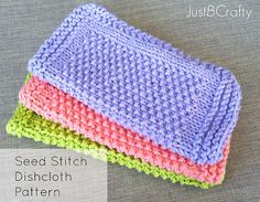 Seed Stitch Dishcloth Pattern Knitted by JustBeCraftyShop on Etsy