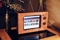 but I think a case that would Steam Punk my iPad would be really coo! — Handmade wooden classic style TV stand for Apple iPad and Tablet Holder, Tablet Stand, Ipad Holder, Laptop Stand, Wooden Ipad Stand, Old Tv Stands, Ipad Hacks, Apple Ipad 1, Iphone 5se