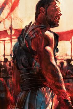 Film poster art project by Alice X. Zhang, originally exhibited at Bottleneck Gallery. Gladiator Film, Gladiator Maximus, Gladiator Armor, Gladiator Tattoo, Alice, Russell Crowe, Movie Poster Art, Fan Art, Art Series