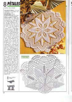 Photo from album Mailles № 200 on Yandex. Crochet Doily Patterns, Crochet Mandala, Crochet Motif, Crochet Doilies, Crochet Lace, Crochet Stitches, Capes For Kids, Album, Diy And Crafts