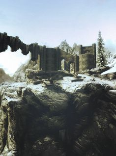 This is the college of Winterhold from Skyrim its built upon a large hill again with a natural enough look to fool someone from a distance into thinking it is a natural occurrence on the landscape.
