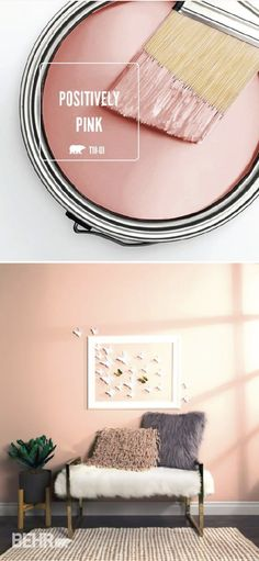 Get in touch with your feminine side with a little help from the light blush hue of Positively Pink by BEHR Paint. This chic shade is a glamorous way to add a subtle pop of color to the interior design of your home. Try using elegant home decor pieces, li Elegant Home Decor, Elegant Homes, Diy Home Decor, Room Decor, Gold Home Decor, Pink Paint Colors, Interior Paint Colors, Interior Design, Bher Paint Colors