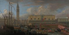 The Bucintoro Departing from the Bacino di San Marco; Luca Carlevarijs (Italian, 1663 - 1730); 1710; Oil on canvas; 134.8 × 259.4 cm (53 1/16 × 102 1/8 in.); 86.PA.600; J. Paul Getty Museum, Los Angeles, California