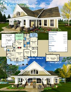 Architectural Designs Craftsman House Plan 14568RK has a flex room plus bonus space over the garage. Put kitchen in the back, get rid of outside door/porch on master bedroom.