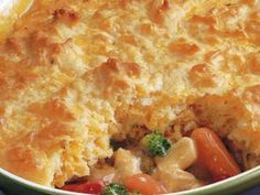 Hearty Chicken Pot Pie   1 package (16 ounces) frozen mixed vegetables, thawed  1 cup cut-up cooked chicken  1 can (10 3/4 ounces) condensed cream of chicken soup  1 cup baking mix (such as Bisquick)  1/2 cup milk  1 egg   Heat oven to 400ºF. Mix vegetables, chicken and soup in ungreased 2-quart casserole.   Stir remaining ingredients in small bowl with fork until blended. Pour into casserole.   Bake 30 minutes or until golden brown.