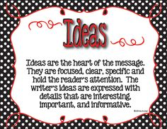 Six (plus 1) Traits of Writing classroom posters in black and white polka dots with red accents.