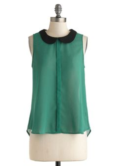 Made the Glade Top - Green, Black, Buttons, Peter Pan Collar, Sleeveless, Sheer, Mid-length, Solid, Work, Casual, Tent / Trapeze, Crew