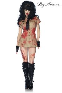 Costume Officier Sanguinaire. Déguisement 3 pièces incluant la robe tachée de sang, la cravate et la paire de mitaines assorties...
