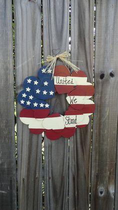 Patriotic heart wreath via Etsy -I can make this... I think. Lol