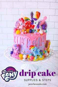 This My Little Pony Cake is very simple and straightforward to make and will dazzle your birthday girl! Check out my steps and tips to make and assemble My Little Pony Party, Bolo My Little Pony, Cumple My Little Pony, Dessert Party, Party Desserts, Mlp Cake, Birthday Cake Girls, 5th Birthday, Birthday Cakes