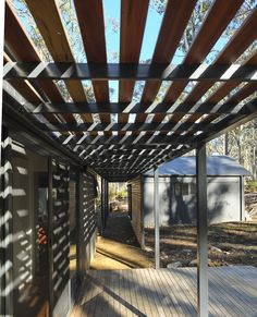 Jaws Architects are Tasmania's most dynamic and creative team of architects and designers, specialising in thoughtful, sustainable design solutions. Water House, Small Buildings, Modular Homes, Sustainable Design, Two Bedroom, Tasmania, Footprint, Flexibility, Pergola