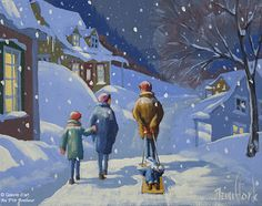 Rémi Clark, 'Promenade', x Drawing Block, Art Gallery, Clark Art, Winter Scenery, First Art, Quebec, Lovers Art, Christmas Time, Watercolour
