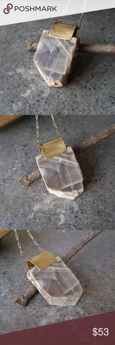 """Gray Moonstone Crystal Pendant Necklace Moonstone is a stone of new beginnings and is deeply connected to the moon and intuition. Its most powerful effect is that of calming the emotions.  More specifically, gray moonstone is a stone of perceiving beyond the veil - useful to the clairvoyant and shaman, and in moving one into unseen realms. It is called the """"New Moon Stone"""" and carries the mysteries and powers of the new moon, where all things exist as potential.  Comes with 20 inch chain…"""