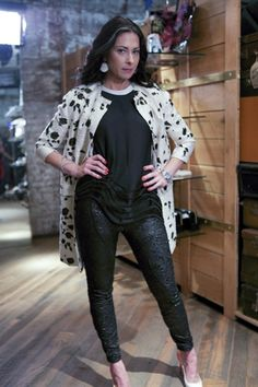 Stacy London in Phillip Lim Wavy Hem Tank Top, Faith Connexion Brocade Skinny Ankle Pants And Christian Louboutin Tucskick GLittered Pump