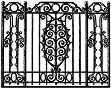 Wrought Iron Rail Decorative Ornate Gate Fence French Quarter New Orleans - Digital image - Vintage Art Illustration - Instant Download