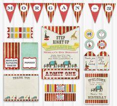 Vintage Circus Birthday Party Set, Custom Circus Birthday Kit, Printable Circus Birthday, INSTANT DOWNLOAD, Kids Circus Birthday Decorations...