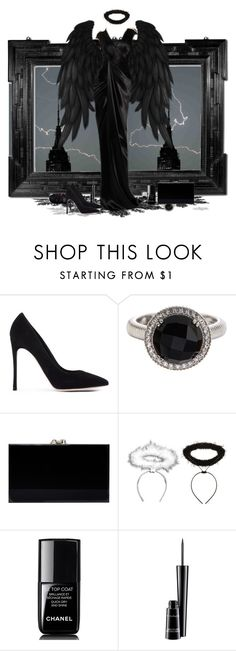 """""""Fallen angel"""" by amethyst0818 ❤ liked on Polyvore featuring Gianvito Rossi, Judith Ripka, Charlotte Olympia, Chanel, MAC Cosmetics, blackdress, halloweencostume and Halloween2015"""