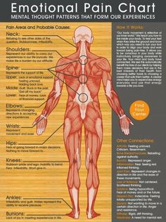 This Emotional Pain Chart Shows You Where Your Negative Emotions Manifest On Your Body. Holistic Health Tips for Beginners, Pain Relief Autogenic Training, Reiki Training, Health And Wellness, Health Fitness, Mental Health, Health Tips, Health Chart, Health Exercise, Fitness Tips