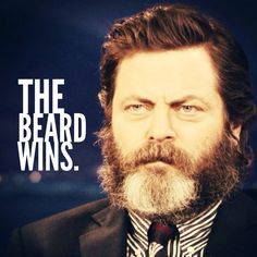 Nick Offerman.   Mustache vs Beard: Beard wins.   #thebeardwins