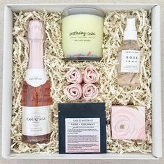 This custom birthday gift was too much fun to design! You can never have too many rose products in one gift! #Regram via @teakandtwine Email us today at hello@teakandtwine.com to create a custom birthday gift!