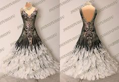 New Ready to Wear Black Georgette Feather Ballroom Competition Dress Size 6 | eBay