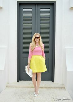 Pink Yellow White Outfit