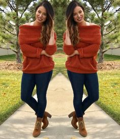 Danita's Look {SHOW SOME SHOULDER SWEATER $49} + {THE SUEDE LACE UP $89} || bismarck.shopalb.com ||  #apricotlane #apricotlanebismarck #newarrival #liketkit #offtheshoulder #sweaterweater #rust #bralette #booties #musthave