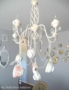 DIY Whimsical Teacup Chandelier #LazyGirlDIY
