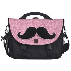 mustache pictures | GIRLY BLACK MUSTACHE PINK GLITTER PRINTED BAGS FOR LAPTOP - Zazzle.com ...