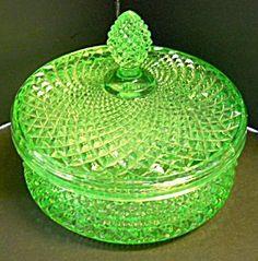 Green Vaseline Glass Powder Box
